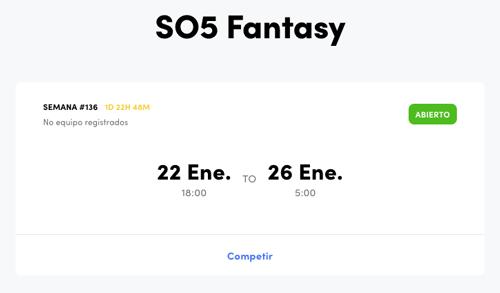 Jornada SO5 Fantasy