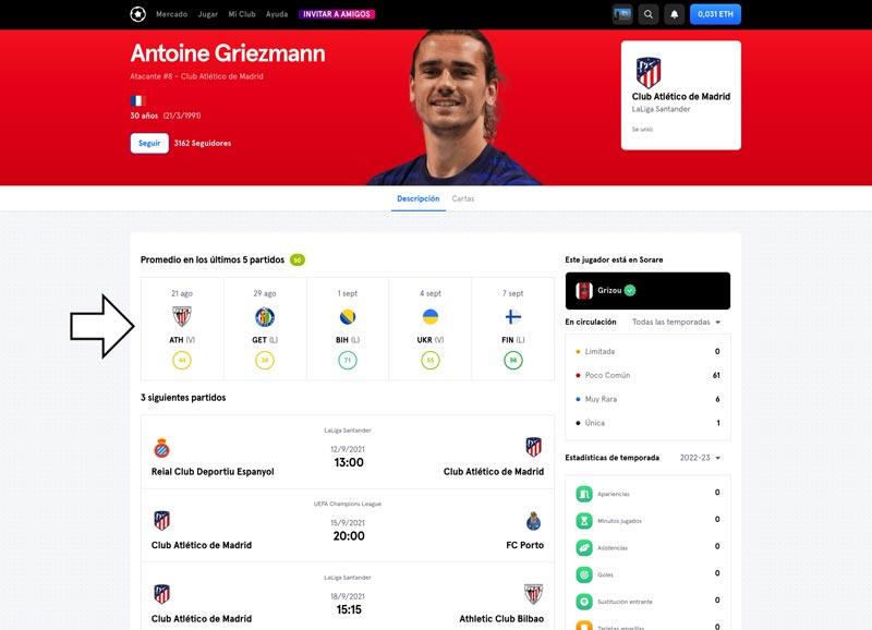 Estadísticas de los últimos 5 partidos de Griezmann